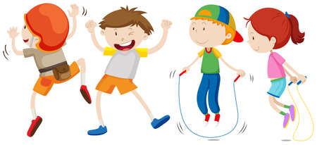 small group of object: Boys and girl in different movement illustration