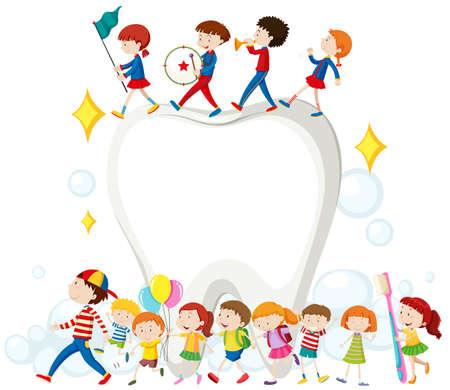 Les enfants et les dents propres illustration