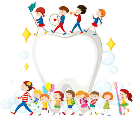 dentist: Los niños y los dientes limpios ilustración
