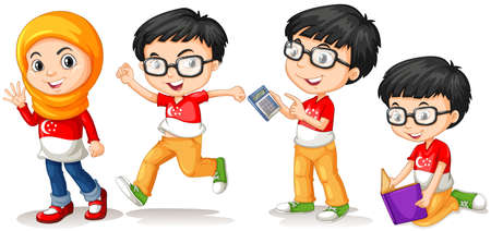 children running: Singapore boy and girl in different actions illustration