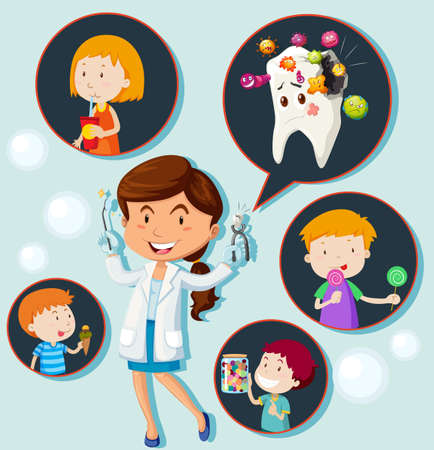 children eating: Dentist and eating habit of children illustration