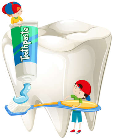 teeth cleaning: Boys with toothbrush brushing teeth illustration