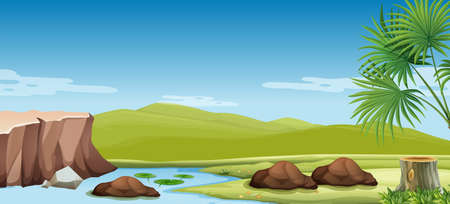 river rock: Nature scene of the river and field illustration