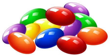 Pila de caramelos de colores ilustración