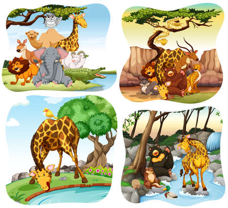 bear lake: Wild animals living in the forest illustration