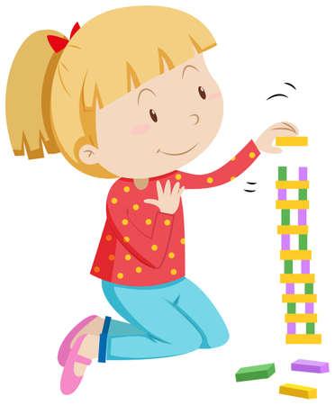 stacking: Little girl stacking wooden blocks illustration Illustration