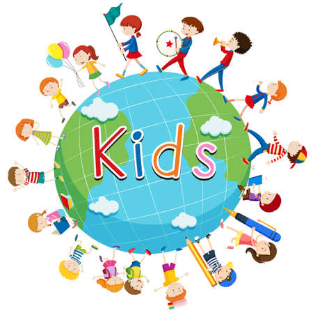 small group of objects: Children doing things around the world illustration
