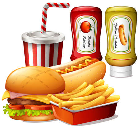 sauces: Fastfood meal with two kind of sauces illustration Illustration