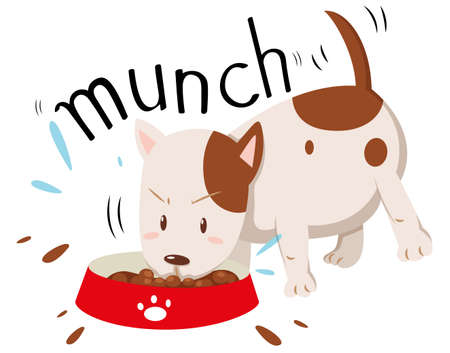cute dogs: Little dog munching alone illustration Illustration