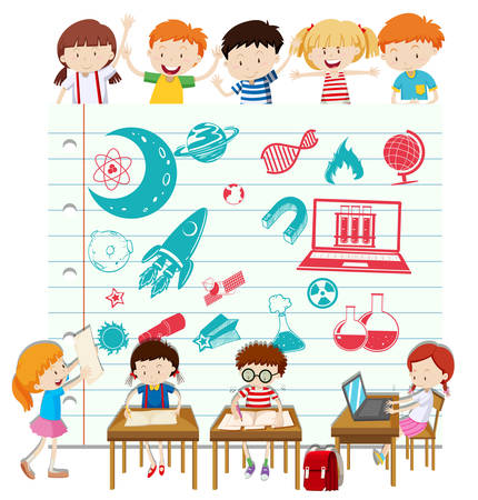computer science: Children doing science at school illustration Illustration