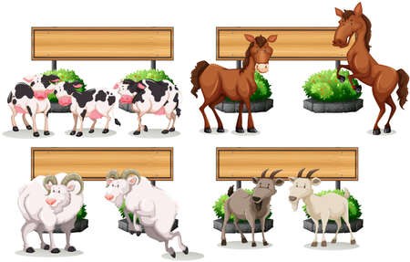 animal border: Farm animals standing by the sign illustration Illustration