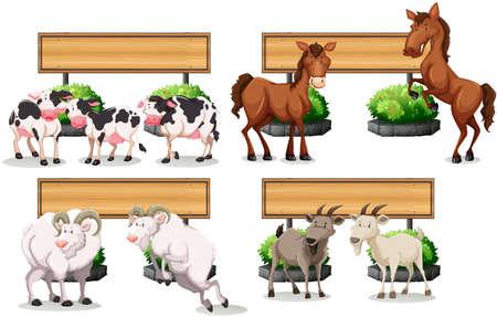 animal border: Farm animals standing by the sign illustration Illustration