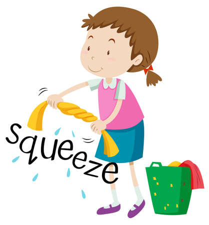 squeeze: Girl squeezing clothes alone illustration Illustration