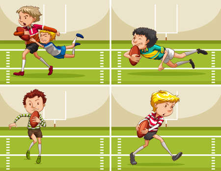 boys playing: Boys playing rugby in the field illustration