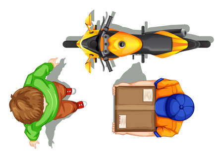 reciever: Top view of deliveryman and bike illustration