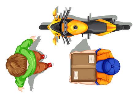 deliveryman: Top view of deliveryman and bike illustration