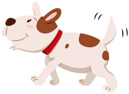 little dog: Little dog wagging its tail illustration