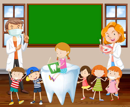 teaching children: Dentists teaching children about cleaning teeth illustration Illustration