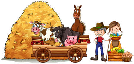 hay: Farmers and farm animals illustration Illustration