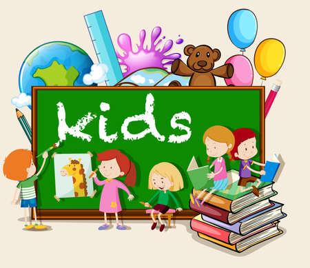 children writing: Children writing and reading  illustration Illustration