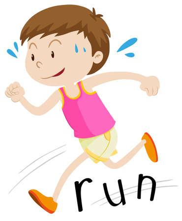 happy kids: Little boy running alone illustration Illustration