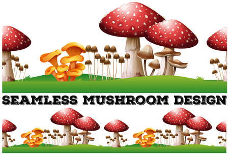 the fungus: Seamless background with mushrooms on the lawn illustration Illustration