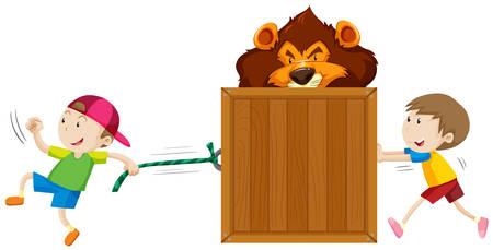 pushing: Boys pulling and pushing box of tiger illustration