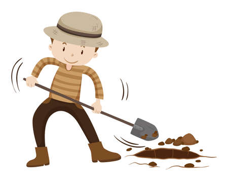 man at work: Farmer digging hold on the ground illustration Illustration