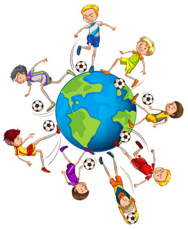 small group of object: Boys playing soccer around the world illustration