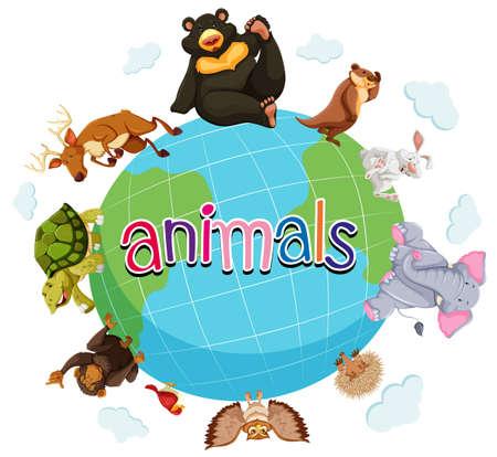 Wild animals around the world illustration Vektoros illusztráció