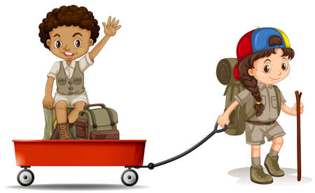 pulling: Girl pulling cart with boy sitting on it illustration