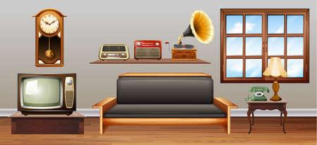 equipo de sonido: Objetos de la vendimia en la ilustración de la sala de estar Vectores