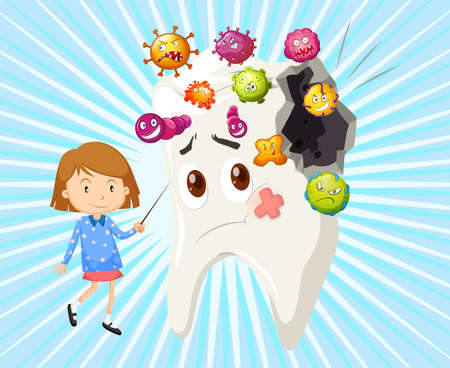 Niña y la caries dental ilustración