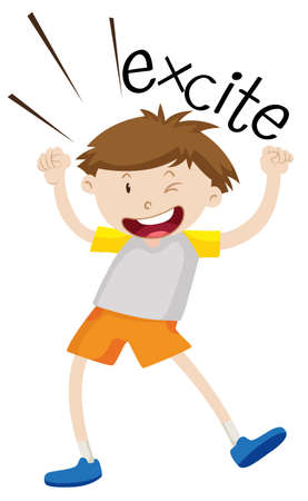young boy smiling: Boy being excited and happy illustration Illustration