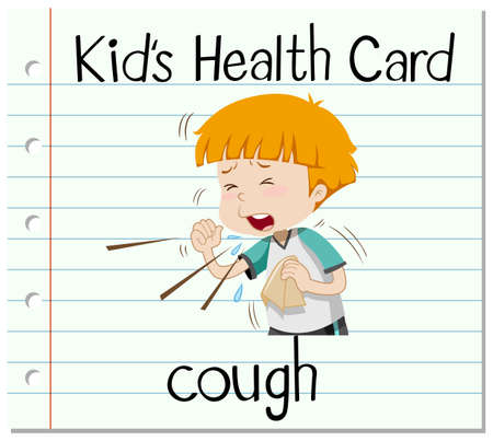 coughing: Health card with boy coughing illustration