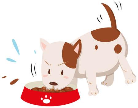 dog food: Little dog eating from the bowl illustration Illustration