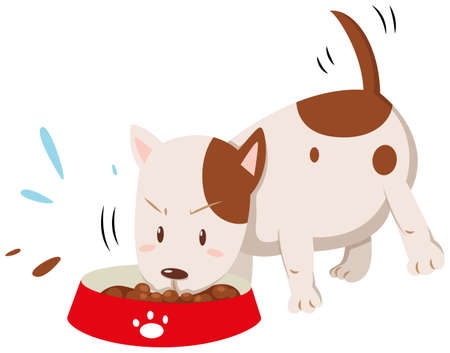 Little dog eating from the bowl illustration Illustration