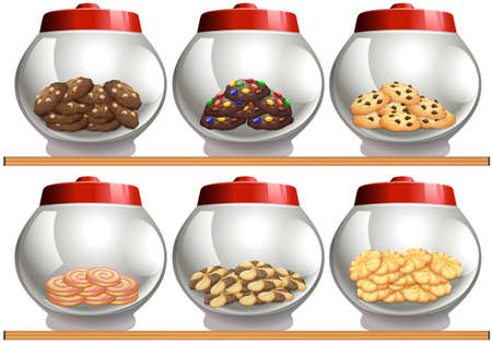 lids: Six cookie jars with red lids illustration