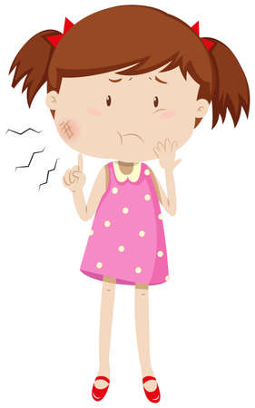 mumps: Little girl having mumps illustration