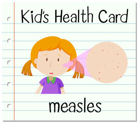 measles: Health card with girl having measles illustration