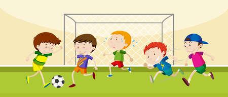 Niños jugando al fútbol en el campo de la ilustración Ilustración de vector