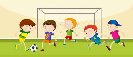 Boys playing soccer in the field illustration Illustration
