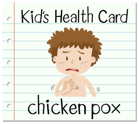 smallpox: Health card with chicken pox illustration Illustration
