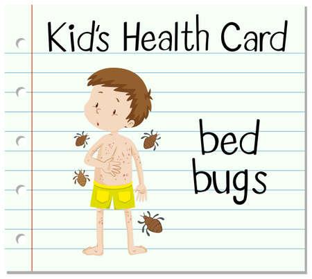 tessera sanitaria con il ragazzo e Bed Bugs illustrazione