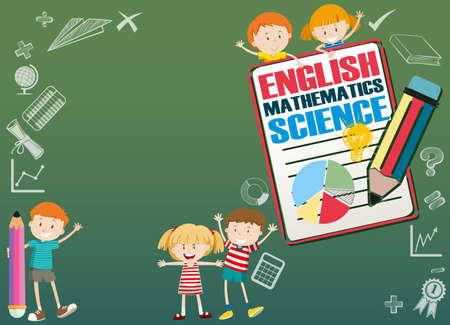 diseño de la frontera con los niños y las materias escolares ilustración Ilustración de vector