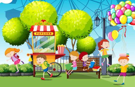 niños sonriendo: Los niños se divierten en el parque de la ilustración