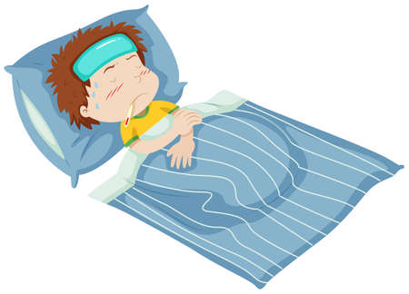 child drawing: Boy being sick in bed illustration Illustration