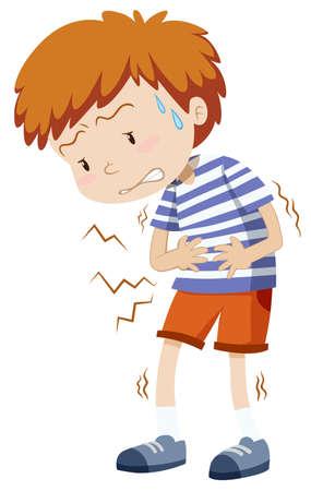 niño pequeño que se ilustración de dolor de estómago