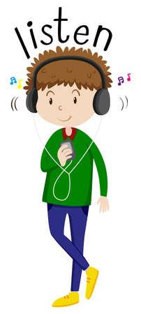 hear: Man listening to music  illustration