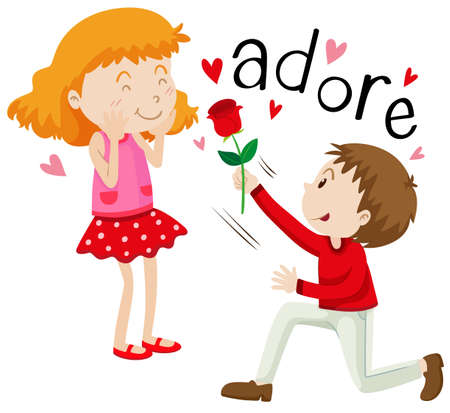 adore: Boy giving rose to the girl illustration